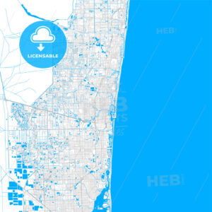Rich detailed vector map of Fort Lauderdale, Florida, USA - HEBSTREITS Sketches