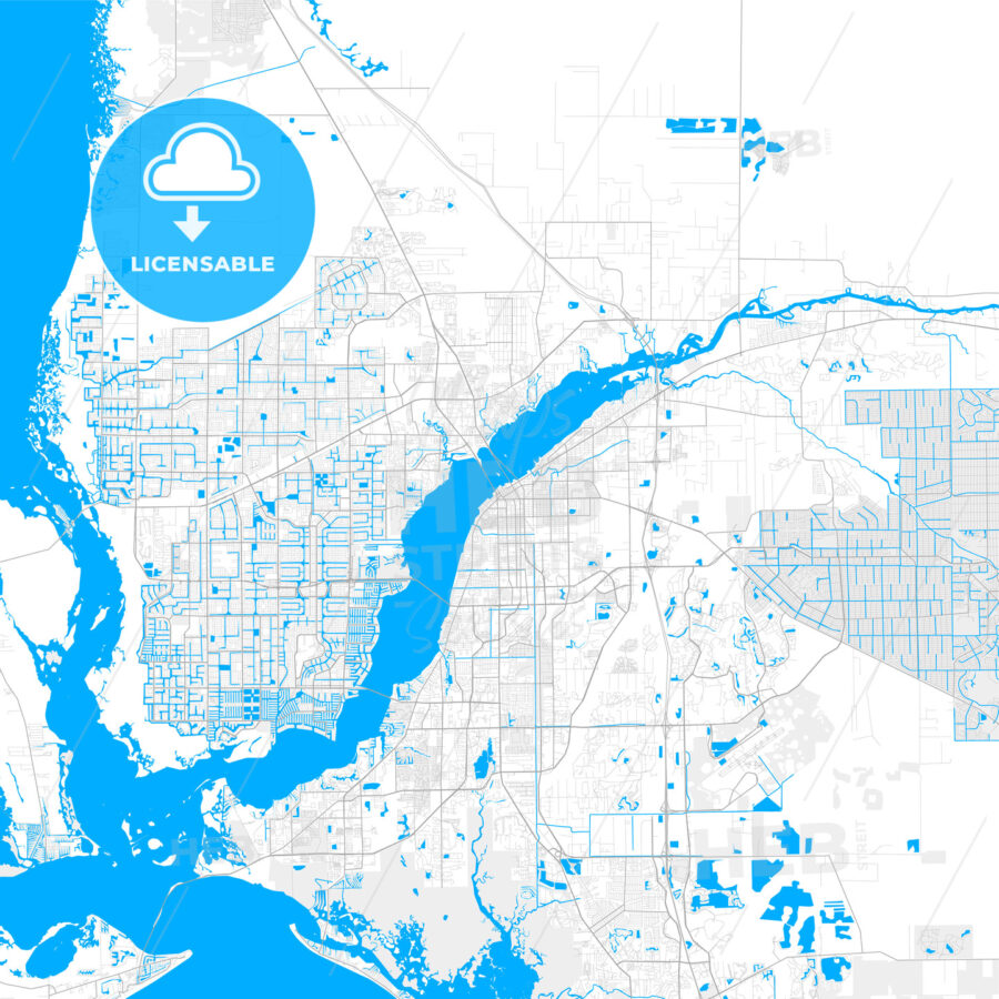 Rich detailed vector map of Fort Myers, Florida, USA - HEBSTREITS Sketches