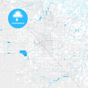 Rich detailed vector map of Fresno, California, U.S.A. - HEBSTREITS Sketches