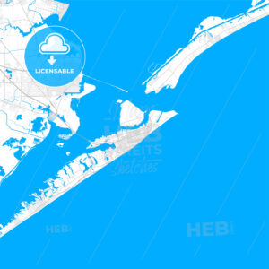 Rich detailed vector map of Galveston, Texas, United States of America - HEBSTREITS Sketches
