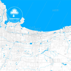 Rich detailed vector map of Gary, Indiana, USA - HEBSTREITS Sketches