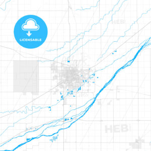 Rich detailed vector map of Grand Island, Nebraska, United States of America - HEBSTREITS Sketches