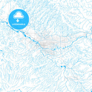 Rich detailed vector map of Grand Junction, Colorado, USA - HEBSTREITS Sketches