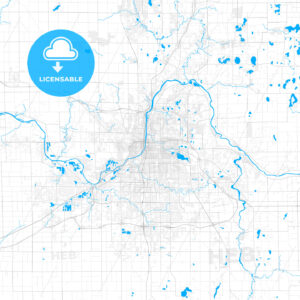 Rich detailed vector map of Grand Rapids, Michigan, USA - HEBSTREITS Sketches
