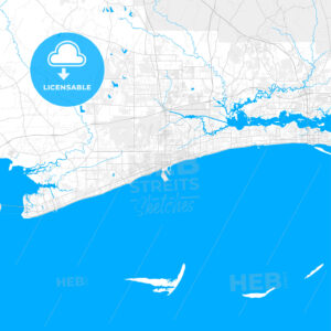 Rich detailed vector map of Gulfport, Mississippi, USA - HEBSTREITS Sketches