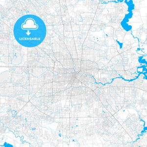 Rich detailed vector map of Houston, Texas, U.S.A. - HEBSTREITS Sketches