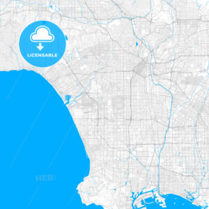 Rich detailed vector map of Inglewood, California, USA - HEBSTREITS Sketches
