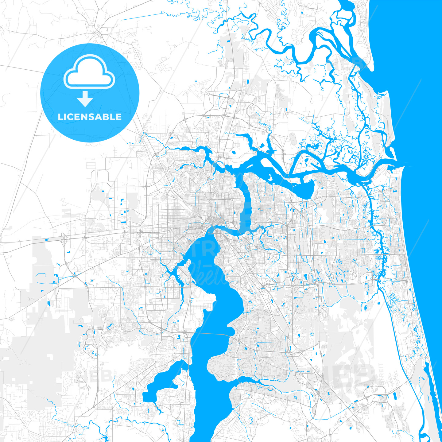 Rich detailed vector map of Jacksonville, Florida, U.S.A.