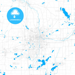 Rich detailed vector map of Kalamazoo, Michigan, USA - HEBSTREITS Sketches