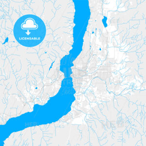 Rich detailed vector map of Kelowna, British Columbia, Canada - HEBSTREITS Sketches