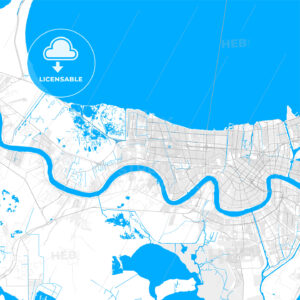 Rich detailed vector map of Kenner, Louisiana, USA - HEBSTREITS Sketches