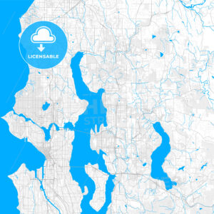 Rich detailed vector map of Kirkland, Washington, USA - HEBSTREITS Sketches