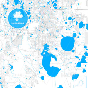 Rich detailed vector map of Kissimmee, Florida, USA - HEBSTREITS Sketches