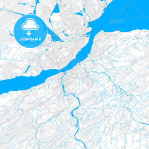 Rich detailed vector map of Lévis, Quebec, Canada - HEBSTREITS Sketches