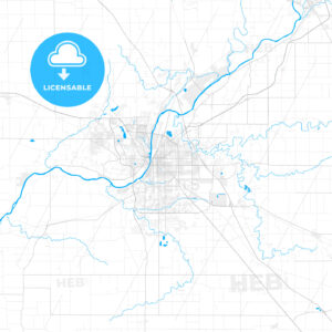 Rich detailed vector map of Lafayette, Indiana, USA - HEBSTREITS Sketches