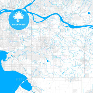 Rich detailed vector map of Langley, British Columbia, Canada - HEBSTREITS Sketches