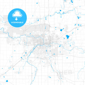 Rich detailed vector map of Lansing, Michigan, USA - HEBSTREITS Sketches