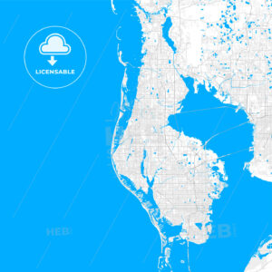 Rich detailed vector map of Largo, Florida, USA - HEBSTREITS Sketches
