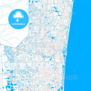 Rich detailed vector map of Lauderhill, Florida, USA - HEBSTREITS Sketches