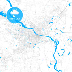 Rich detailed vector map of Little Rock, Arkansas, USA - HEBSTREITS Sketches