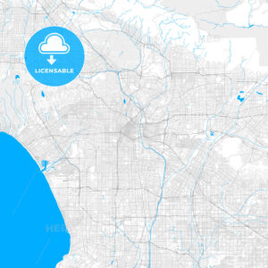 Rich detailed vector map of Los Angeles, California, U.S.A. - HEBSTREITS Sketches