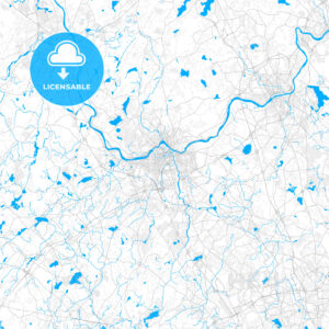 Rich detailed vector map of Lowell, Massachusetts, USA - HEBSTREITS Sketches
