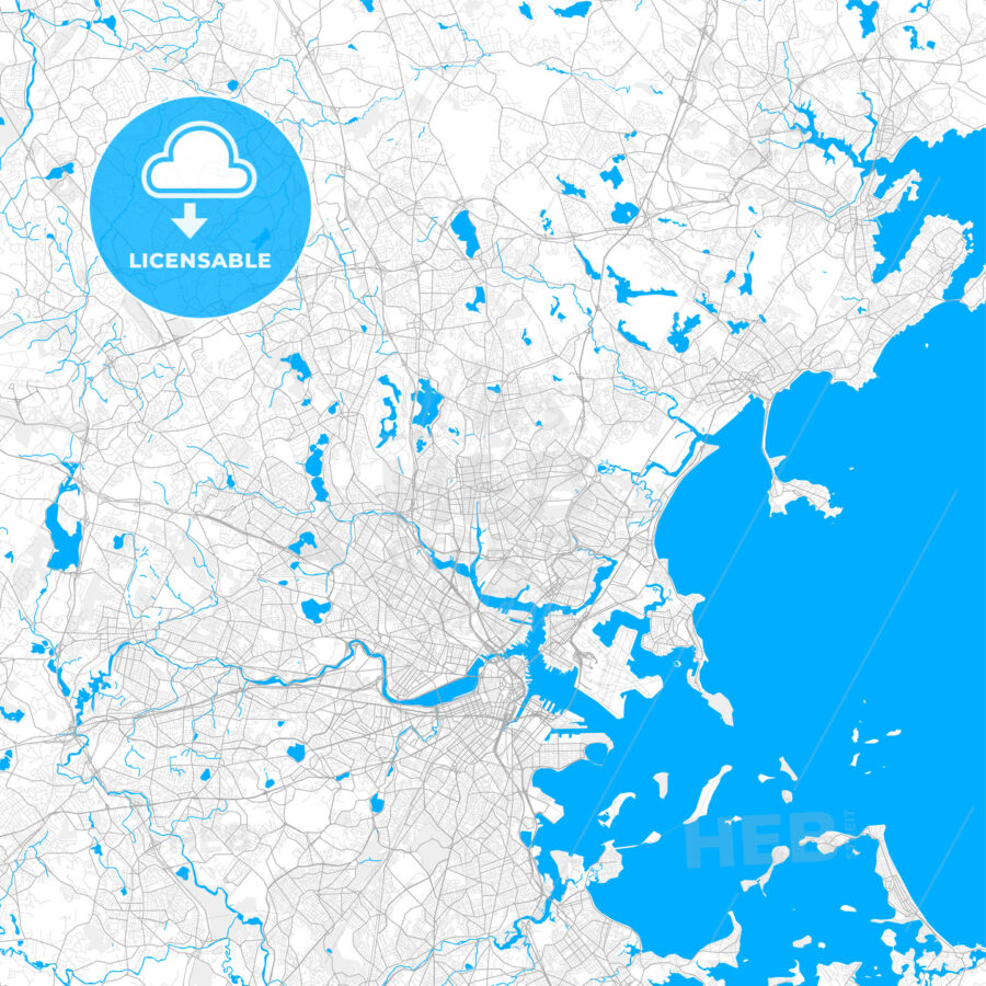 Rich detailed vector map of Malden, Massachusetts, USA - HEBSTREITS Sketches