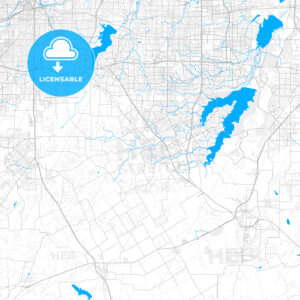 Rich detailed vector map of Mansfield, Texas, USA - HEBSTREITS Sketches