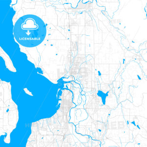 Rich detailed vector map of Marysville, Washington, USA - HEBSTREITS Sketches