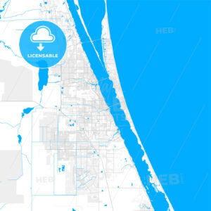 Rich detailed vector map of Melbourne, Florida, USA - HEBSTREITS Sketches