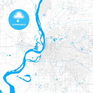 Rich detailed vector map of Memphis, Tennessee, U.S.A. - HEBSTREITS Sketches