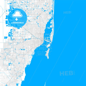 Rich detailed vector map of Miami, Florida, U.S.A. - HEBSTREITS Sketches