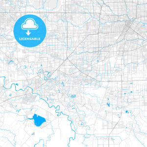 Rich detailed vector map of Missouri City, Texas, USA - HEBSTREITS Sketches