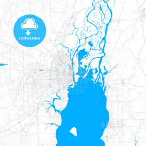 Rich detailed vector map of Mobile, Alabama, USA - HEBSTREITS Sketches