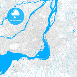 Rich detailed vector map of Montreal, Quebec, Canada - HEBSTREITS Sketches
