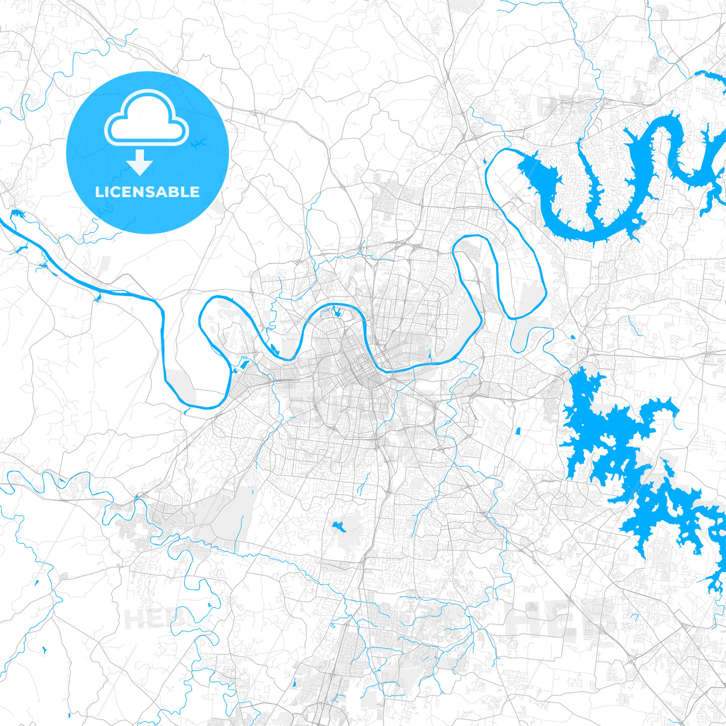 Rich detailed vector map of Nashville, Tennessee, U.S.A.