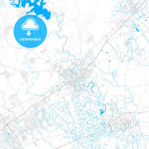 Rich detailed vector map of New Braunfels, Texas, USA - HEBSTREITS Sketches