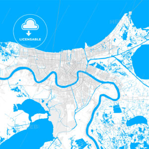 Rich detailed vector map of New Orleans, Louisiana, U.S.A. - HEBSTREITS Sketches