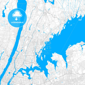 Rich detailed vector map of New Rochelle, New York, USA - HEBSTREITS Sketches
