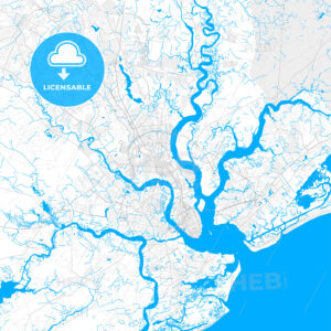 Rich detailed vector map of North Charleston, South Carolina, USA - HEBSTREITS Sketches