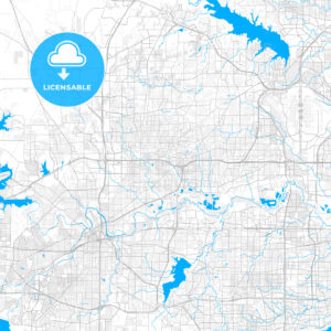 Rich detailed vector map of North Richland Hills, Texas, USA - HEBSTREITS Sketches