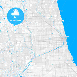 Rich detailed vector map of Oak Park, Illinois, United States of America - HEBSTREITS Sketches
