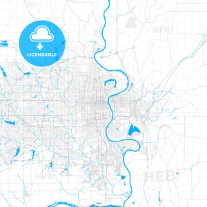 Rich detailed vector map of Omaha, Nebraska, U.S.A. - HEBSTREITS Sketches