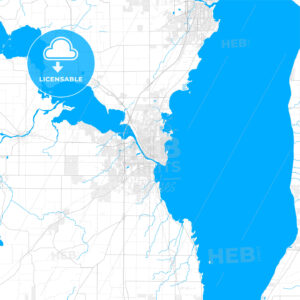 Rich detailed vector map of Oshkosh, Wisconsin, USA - HEBSTREITS Sketches