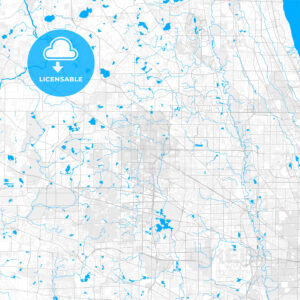 Rich detailed vector map of Palatine, Illinois, USA - HEBSTREITS Sketches