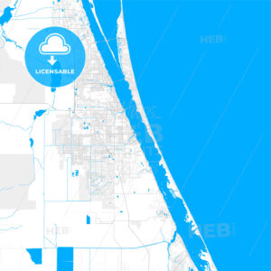 Rich detailed vector map of Palm Bay, Florida, USA - HEBSTREITS Sketches