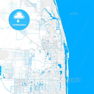 Rich detailed vector map of Palm Beach Gardens, Florida, United States of America - HEBSTREITS Sketches