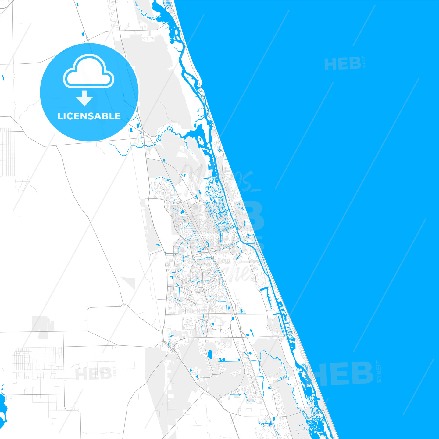 Rich detailed vector map of Palm Coast, Florida, USA