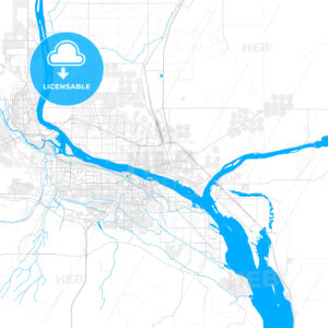 Rich detailed vector map of Pasco, Washington, USA - HEBSTREITS Sketches