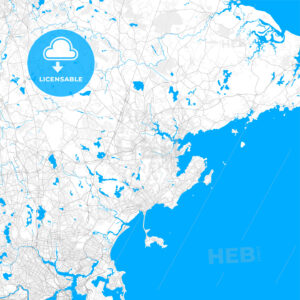 Rich detailed vector map of Peabody, Massachusetts, United States of America - HEBSTREITS Sketches